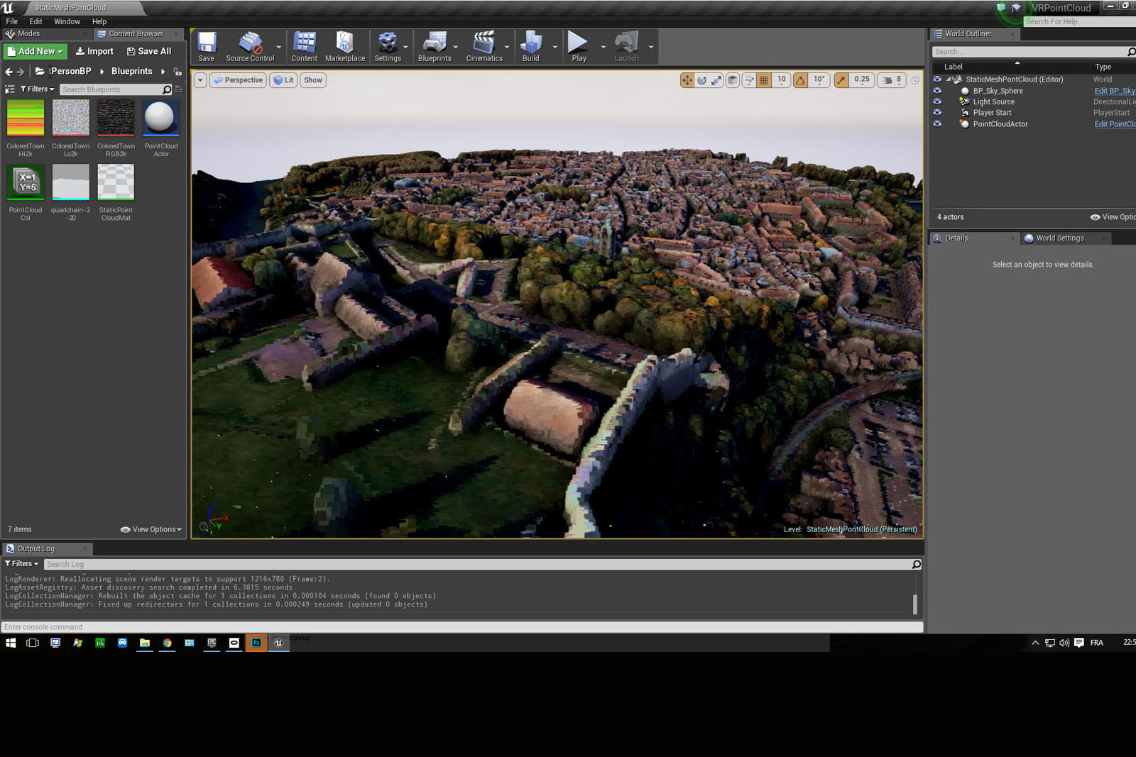 Unreal Engine 4 Point Cloud rendering (Besancon Town Center)